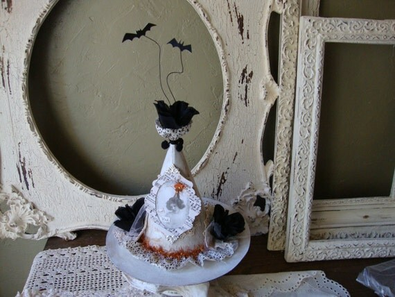 White witch hat Halloween centerpiece table decor  Victorian style Good witch elegant Halloween decor victorian altered art mixed media