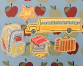 School Is In Let's Begin Set of 5 MAGNETS  September Teacher Student Bus Driver Thank You Congratulations Classroom Elementary Locker