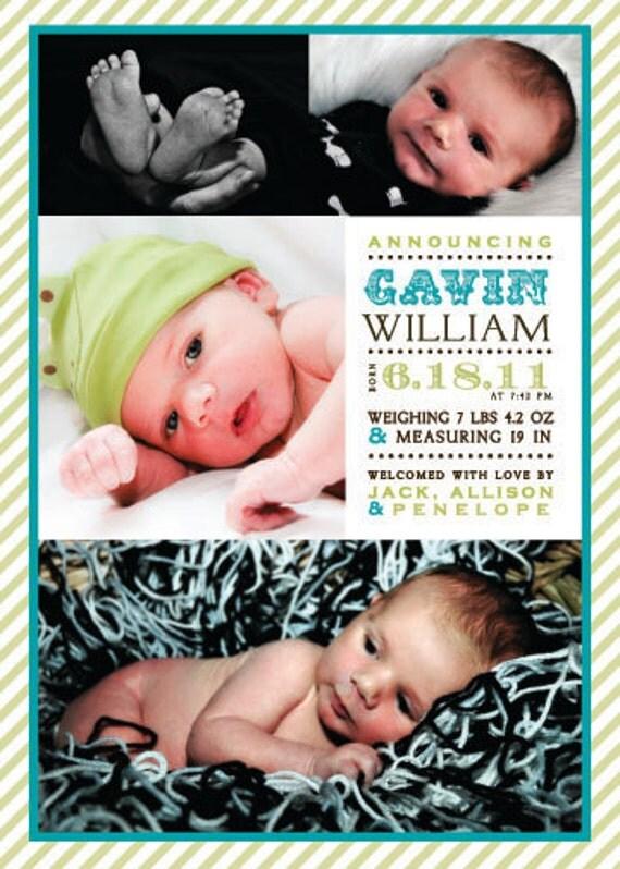 Photo Collage Birth Annoucement - Stripe