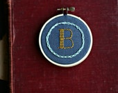 Custom Chain Stitch Initial- hand embroidered 3 inch hoop