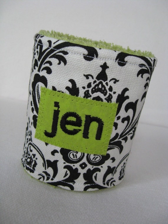 Personalized Can or Bottle Koozie - Damask - Your choice of color