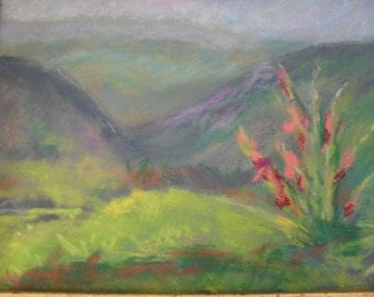 "Original Maui Pastel Painting  5 x 7"" Framed home decor"