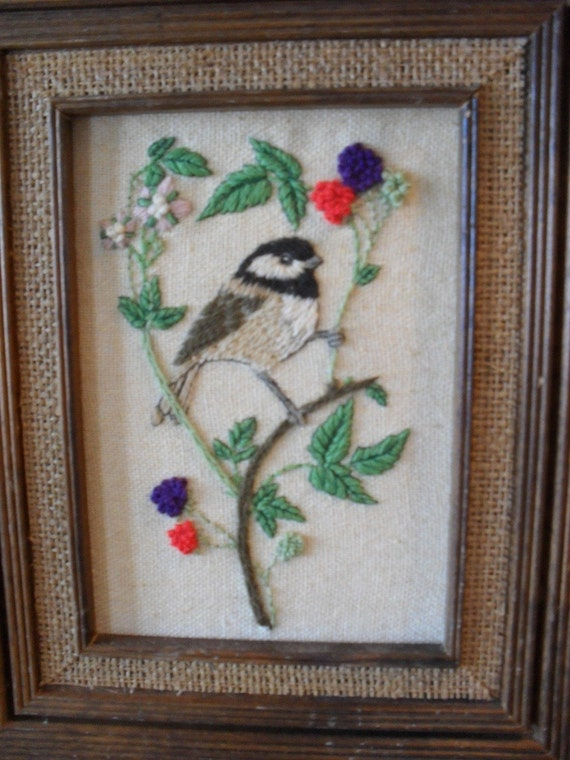Vintage Framed Crewel Picture of A Chicadee Bird Home decor
