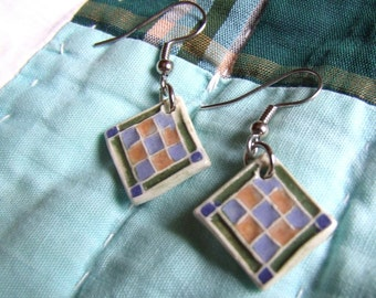 Patchwork Earring, Nine Patch Design