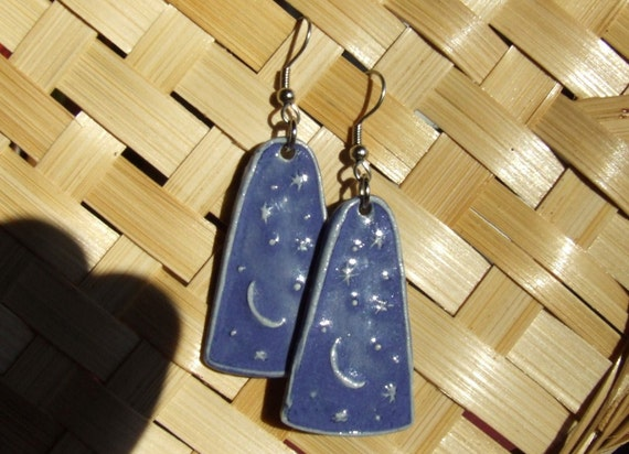 Moon and Stars Porcelain Earring