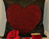 throw pillow cover, red and black