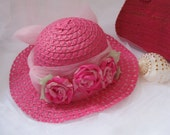 hat for little girls bright pink,
