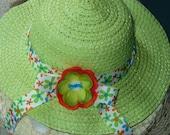 little girls summer hat in cabbage green