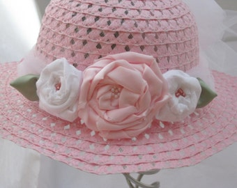 Spring hat for little girls pink and white, Photo prop hat for little girls