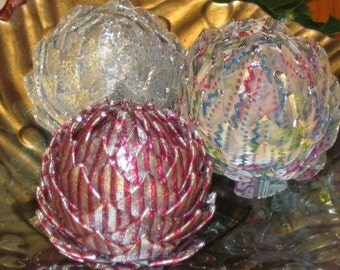 Unique pine cone ornament, pink, blue, green