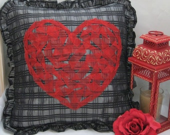 red and black throw pillow cover,