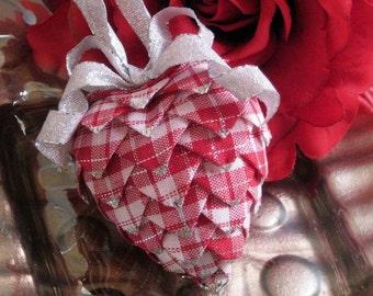 red plaid heart Christmas ornament,