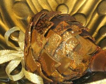 Unique Christmas ornament,chocolate,copper, gold