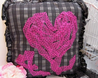 pink and black throw pillow cover