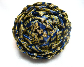 blue and gold christmas ornament, pine cone