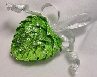 Unique handmade Valentine heart decoration, apple green