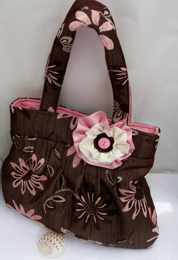 Mothers Day Sale. chocolate and pink pleated handbag