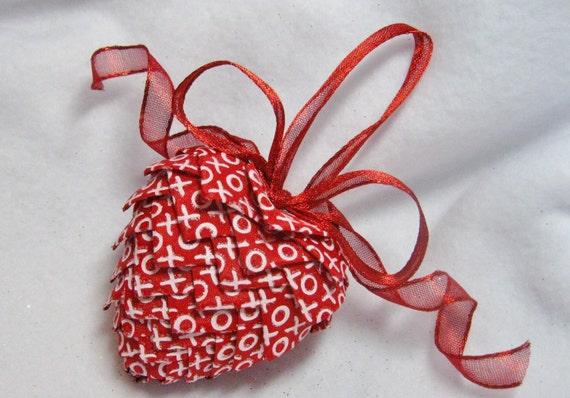red handmade heart ornament, keepsake valentine decoration,