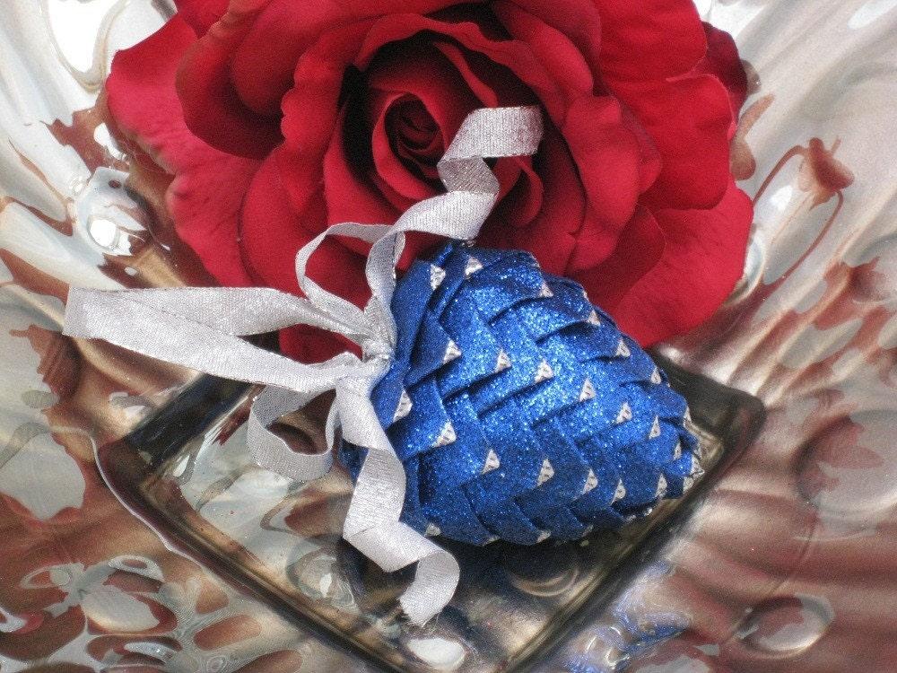 unique Christmas ornament blue handmade ribbon heart
