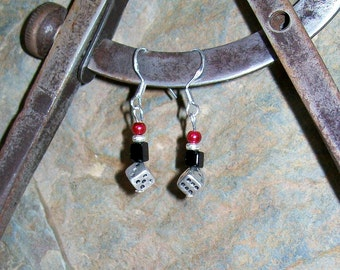 Red Black Silver Dice Sterling Silver Dangle Earrings, Dice Earring, Silver Black Red Dice Sterling Silver Earrings