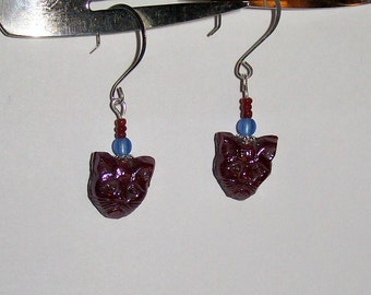 Red Sad Kitty Dangle Silver Earrings, Red Cat Dangle Silver Earrings; Cat Red Blue Silver Dangle Earrings
