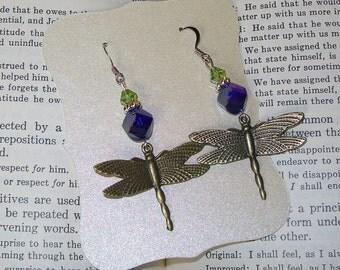 Purple Dragonfly Sterling Silver Dangle Earrings