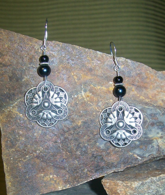 Antique Silver and Black Dangle Earrings