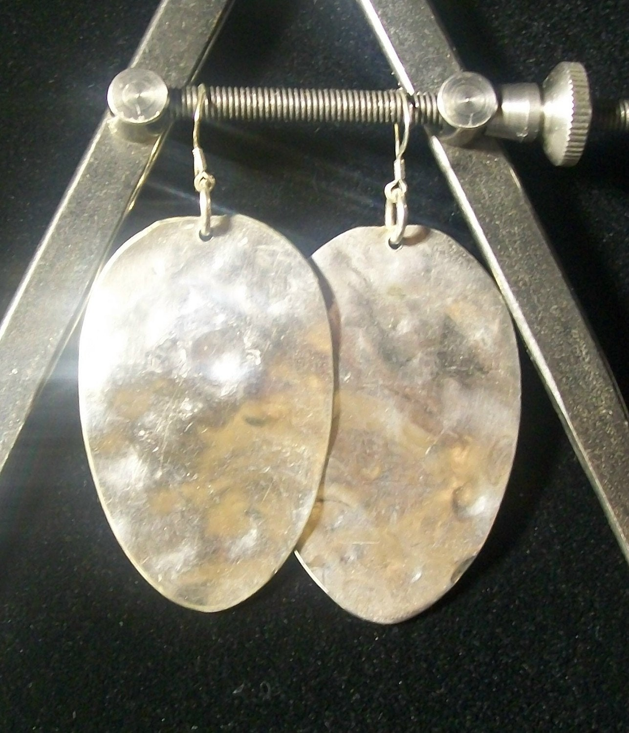 antique hammered spoon sterling silver earrings