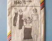 Vintage 70s Stretch and Sew 1540 Womens Camisole Dress and Top Pattern Bust 28-42