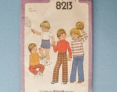 Vintage 70s Simplicity 8213 Toddler Pullover Top, Pants and Shorts Pattern Size 1