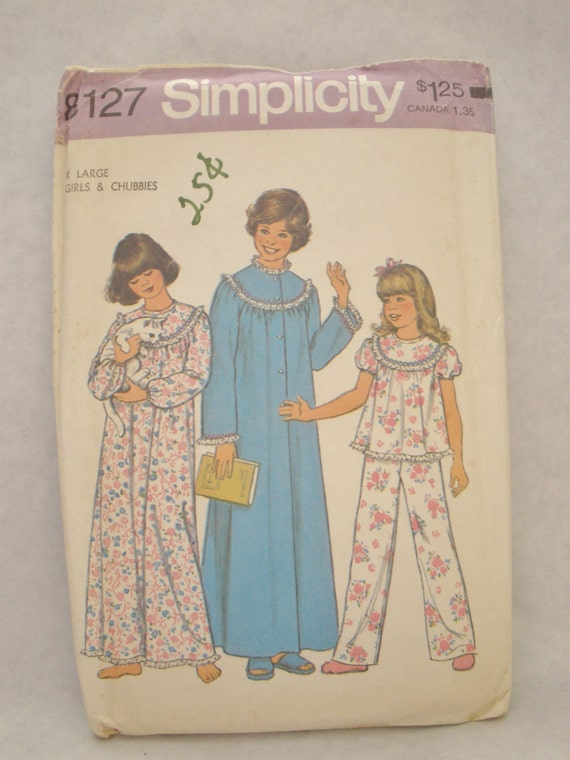 Vintage 70s Simplicity 8127 Girls Nightgown, Pajamas and Robe Pattern Size X-Large