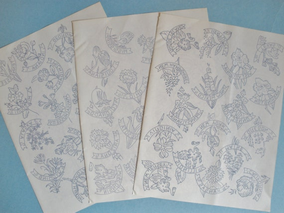 3 Sheets of Embroidery Transfer Patterns from 70s - State Flowers