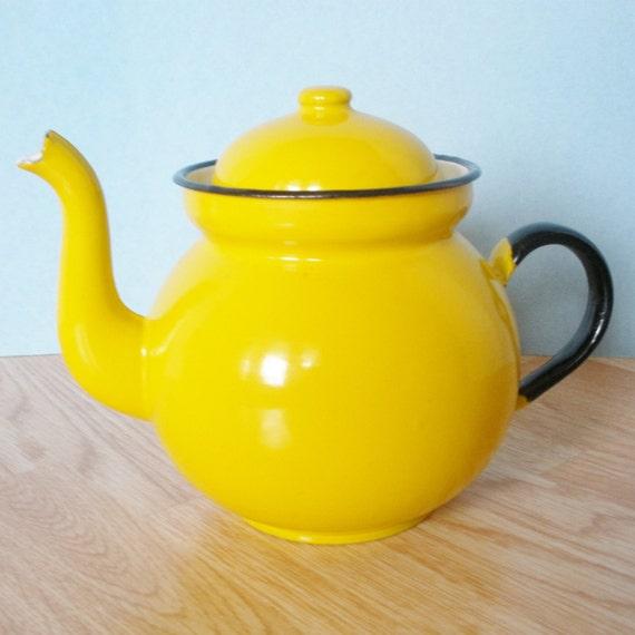 Vintage Yellow Enamel Metal Teapot