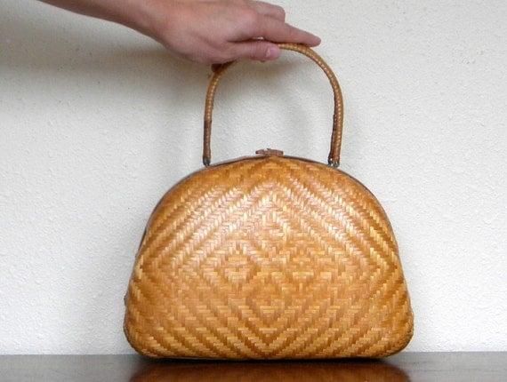 Vintage 60s Golden Bamboo Woven Structured Handbag