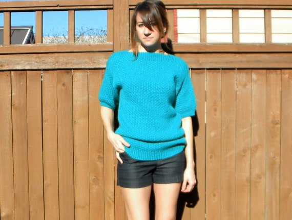 30% Off SALE... Blue Green Dream 80s Turquoise Knit Long & Lean Sweater, Small