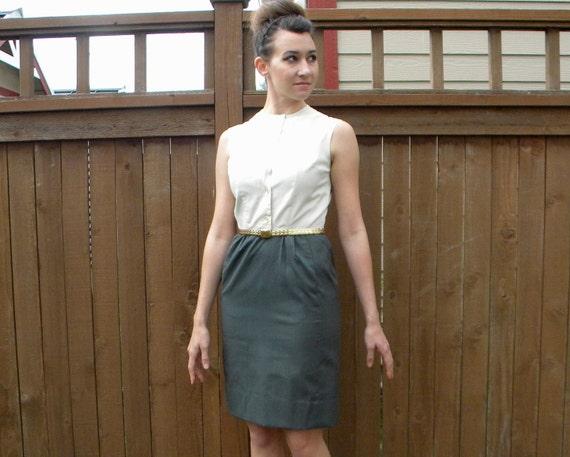 Color Blocked 60s Ivory & Grey Secretary Dress, Mad Men, Small