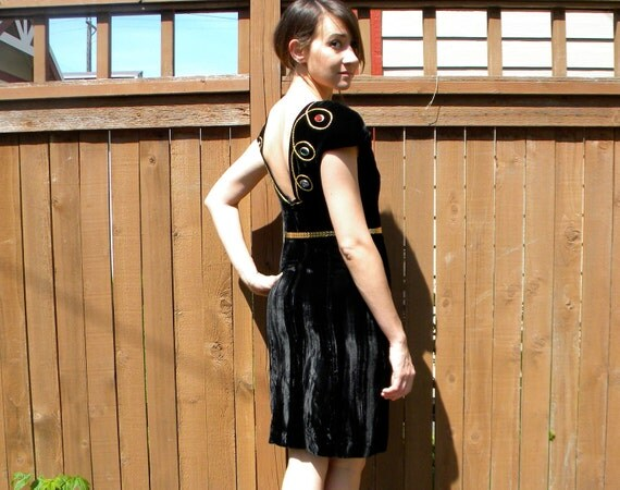 Sexy Back 80s Black Velvet Cocktail Dress with Gold Trim & Bright Jewels, Extra Small