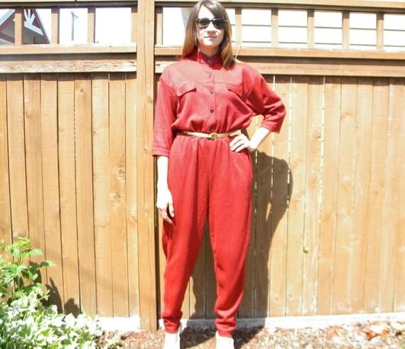 Vintage Bold 80s Red & Black Houndstooth Print Jumpsuit with Pockets, Medium