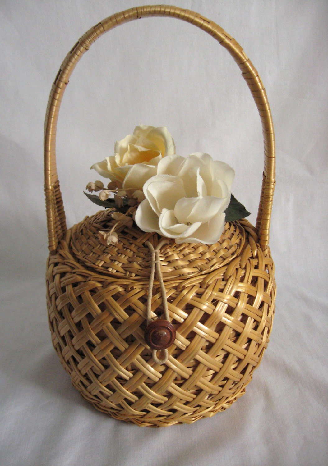 Woven Basket Purse : Vintage purse woven basket with flowers s by riffraffreview
