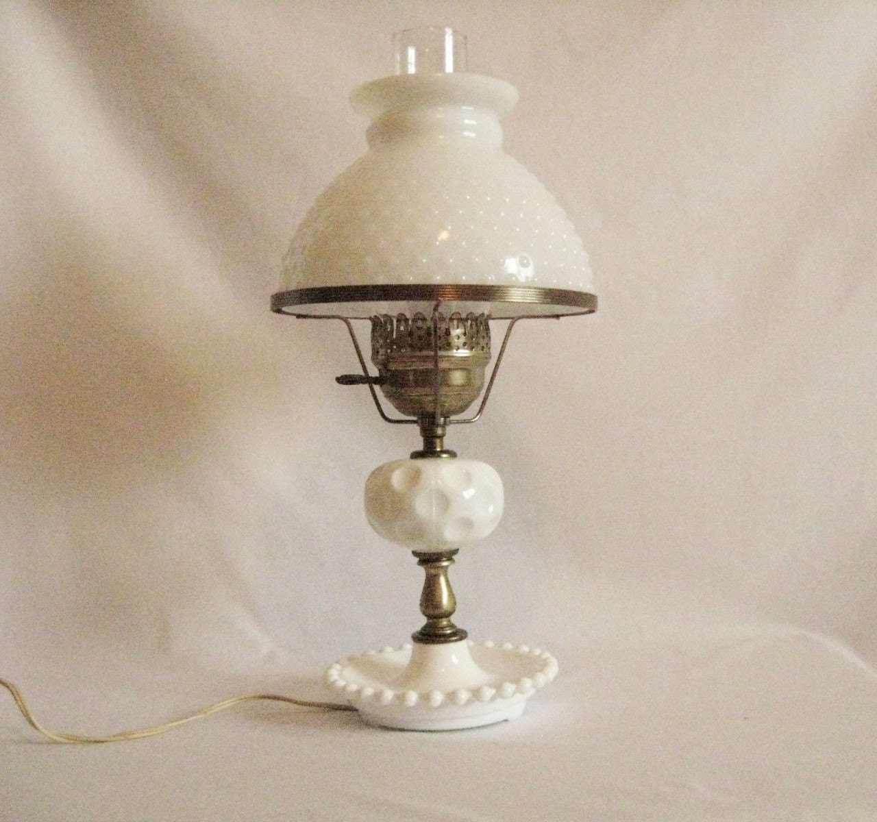 vintage milk glass hobnail lamp and shade