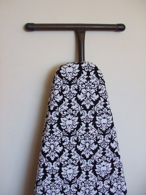 Ironing Board Cover with FREE IRON CORD tie in matching black and white damask