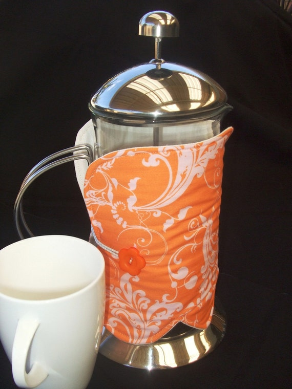 Coffee Plunger Bodum Cozy - orange floral HEAVILY REDUCED - CLEARANCE