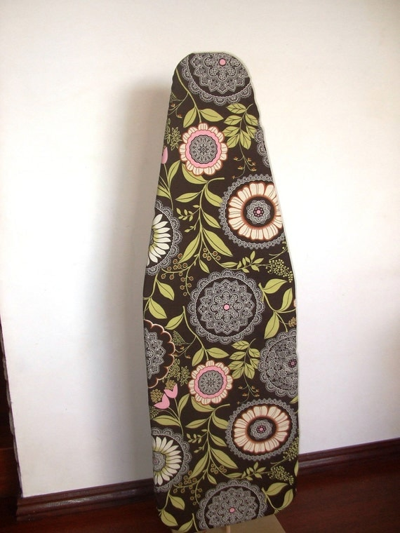 Ironing Board Cover - Brown retro lace from Amy Butler's Lotus collection with FREE iron cord tie
