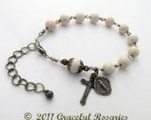 Catholic Rosary Bracelet - Religious Jewlery White Riverstone Bronze crucifix miraculous medal