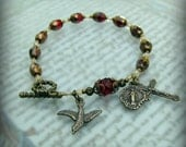 Confirmation gift for girls - Red Catholic Rosary Bracelet with Holy Spirit