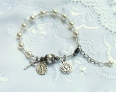 First Communion Pearl Rosary Bracelet Silver cross and miraculous medal small size