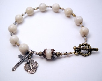 Catholic Rosary Bracelet - White Riverstone and Bronze Catholic Cross and Miraculous medal