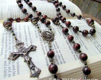 Catholic Rosary for Men - Large Red Tigereye Gemstone beads with Bronze Cross Medals