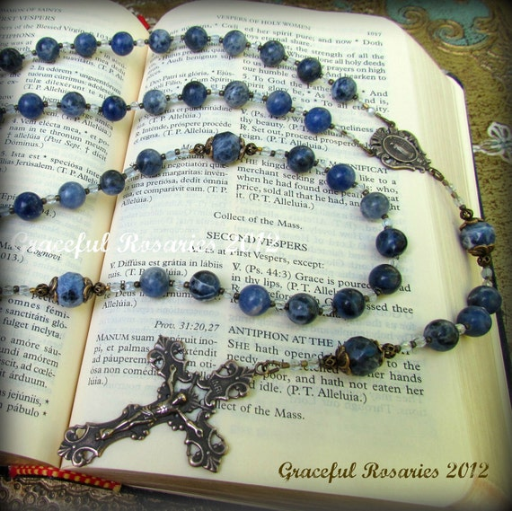 Blue Catholic Rosary for Women - Sodalite Gemstones and Bronze medals