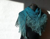 Hand knitted turquoise blue woolly lace triangular shawl from hand dyed yarn OOAK